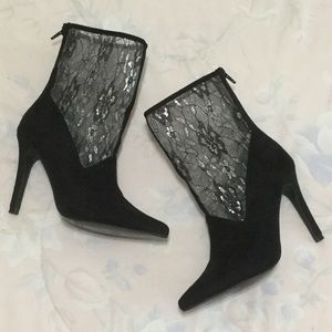 Diba Black Beth Lace and Faux Suede Sock Booties